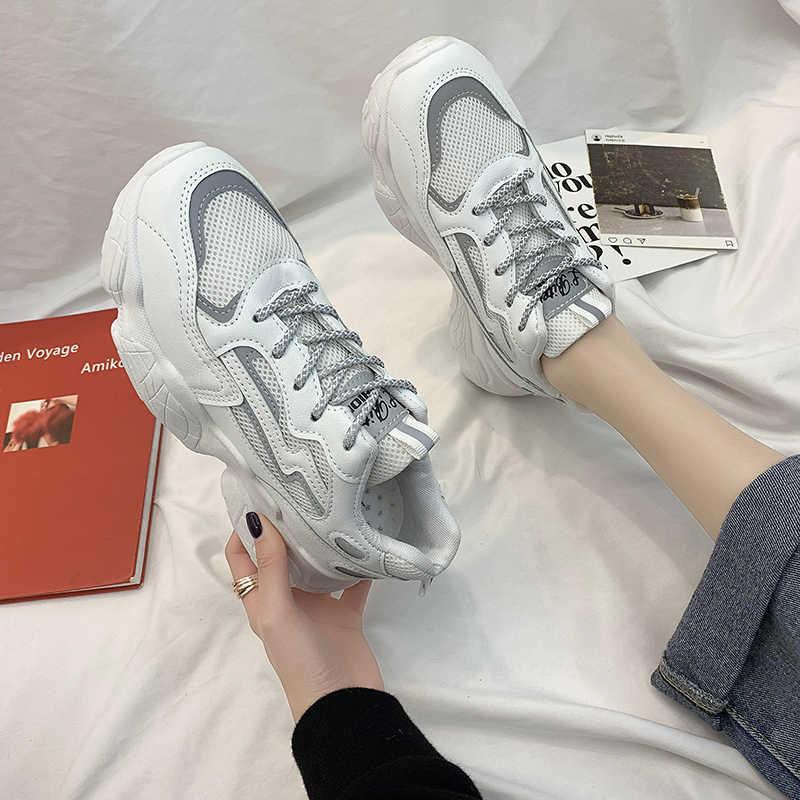 Dành Cho Nữ 2020 Thời Trang Giày Người Phụ Nữ Thoải Mái Thoáng Khí Trắng Đế Bằng Nữ Nền Tảng Chaussure Femme Phản Quang