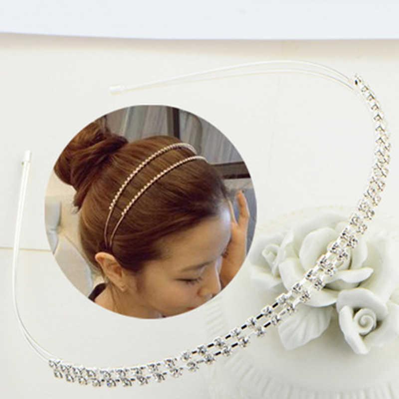 Fashion New Hairband Women Crystal Rhinestone Pearl Headband Gold Silver Color Head Piece Ladies Girls Hair Accessories