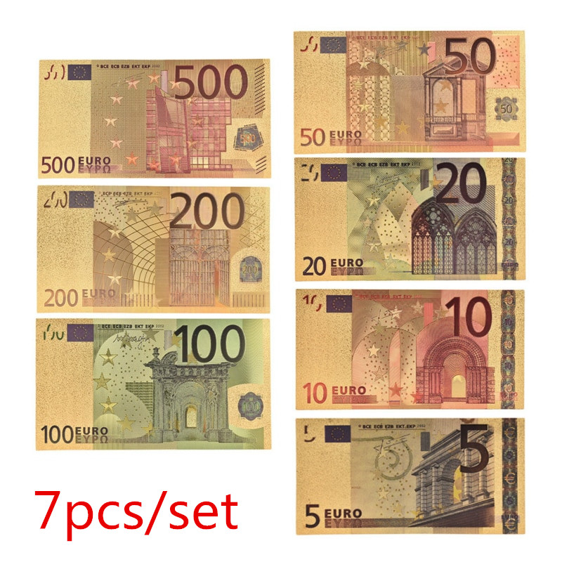7 pçs/lote 5 10 20 50 100 200 500 euros notas de ouro em 24 k ouro falso dinheiro de papel para coleção conjuntos de notas de euro|Notas de ouro|   -