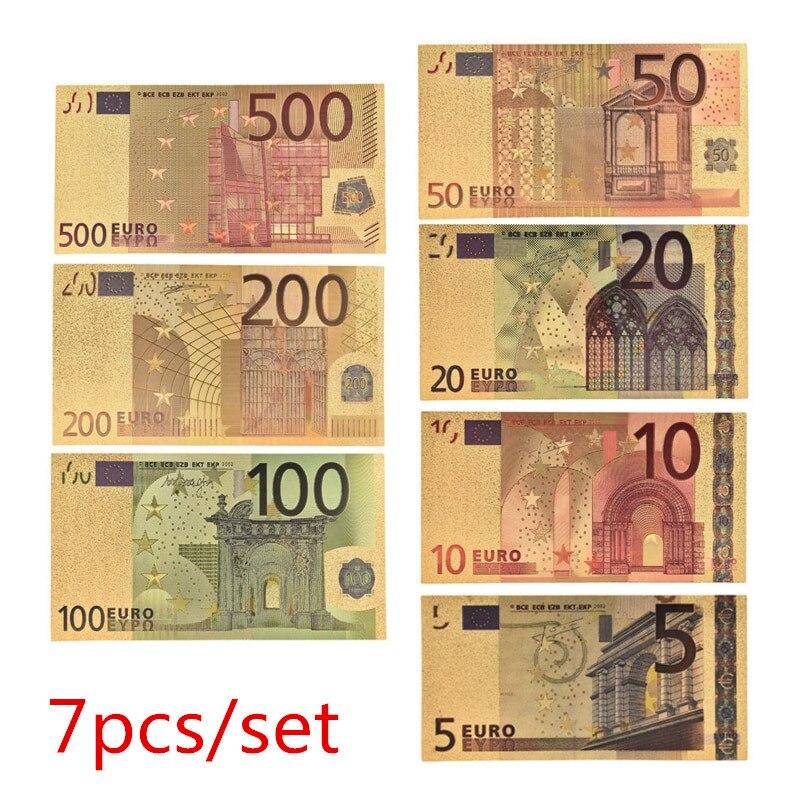 7 pçs/lote 5 10 20 50 100 200 500 euros notas de ouro em 24 k ouro falso dinheiro de papel para coleção conjuntos de notas de euro