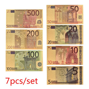 7pcs/lot 5 10 20 50 100 200 500 EUR Gold Banknotes in 24K Gold Fake Paper Money for Collection Euro Banknote Sets hot sale