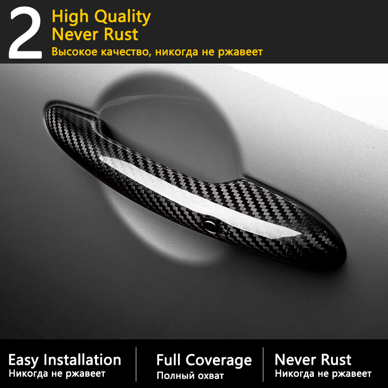 lowest price Black Carbon Fiber Door Handle Cover for Citroen C4 Pallas Triomphe Quatre 2004 2010 Car Accessories Stickers Trim Set Chrome