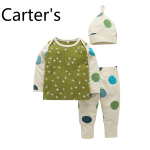 Carter's Infant Girl Clothing Baby Suit Spring Autumn Set Baby Three-piece Set Polka Dot T-shirt Pants Hat Newborn Set Babys