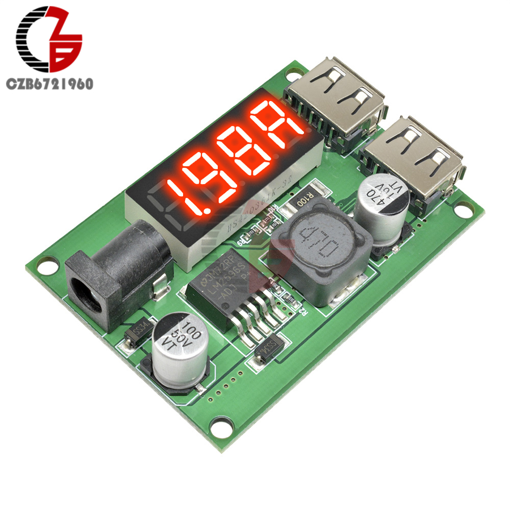 150KHz Dual <font><b>USB</b></font> <font><b>Step</b></font> <font><b>Down</b></font> Buck Converter DC-DC Power Supply Voltage <font><b>Regulator</b></font> 6-40V zu 5V <font><b>3A</b></font> mit LED Amperemeter 5,5x2,1mm DC Jack image