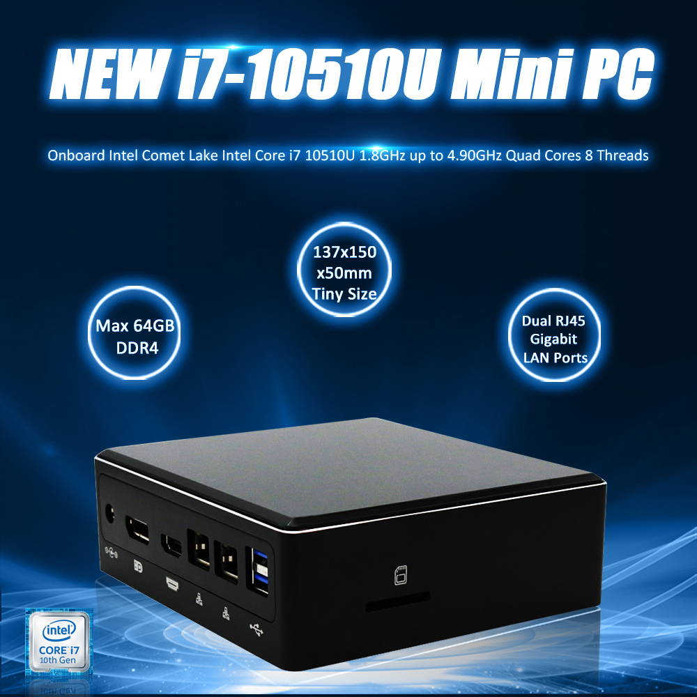 Eglobal New Mini Pc 10th Gen Intel Core I7 10510U 4.90GHz Monster Game Pc DDR4 64GB DP HD Type-C USB3.0 SD Card M.2 SSD Computer