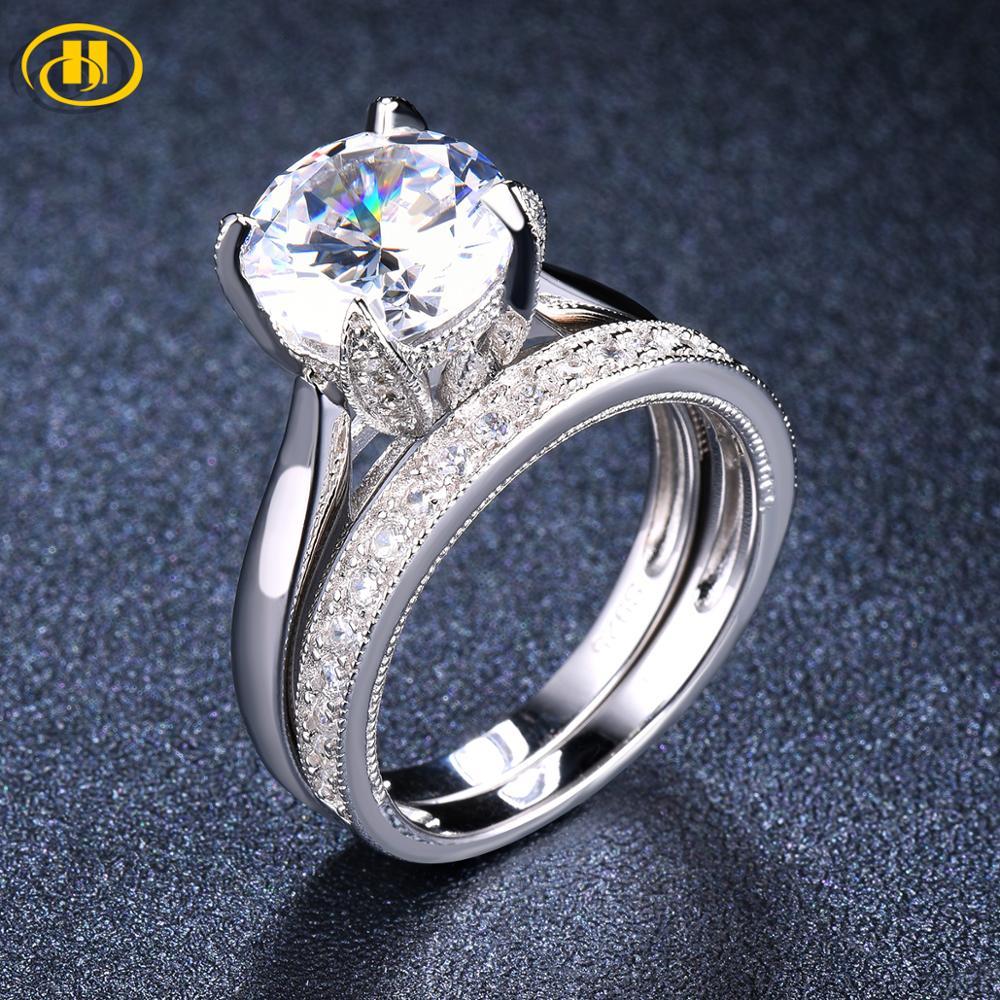 2 pièces Solitaire diamant bague de mariage ensembles solide 925 en argent Sterling rond bague de fiançailles pour les femmes proposition nuptiale cadeau