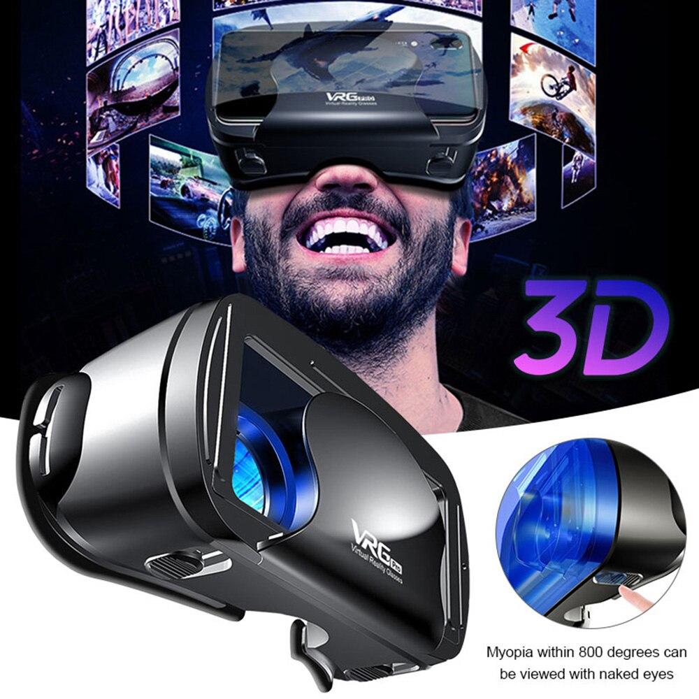 Óculos de realidade virtual vrg pro 3d, óculos virtual grande angular visual para vr de 5 a 7 polegadas dispositivos de óculos de smartphone