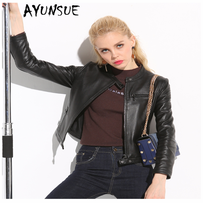 AYUNSUE 2019 Genuine Leather Jacket Women Winter Autumn Jacket Female Vintage Streetwear Motorcycle Real Sheepskin Coat Y-1845