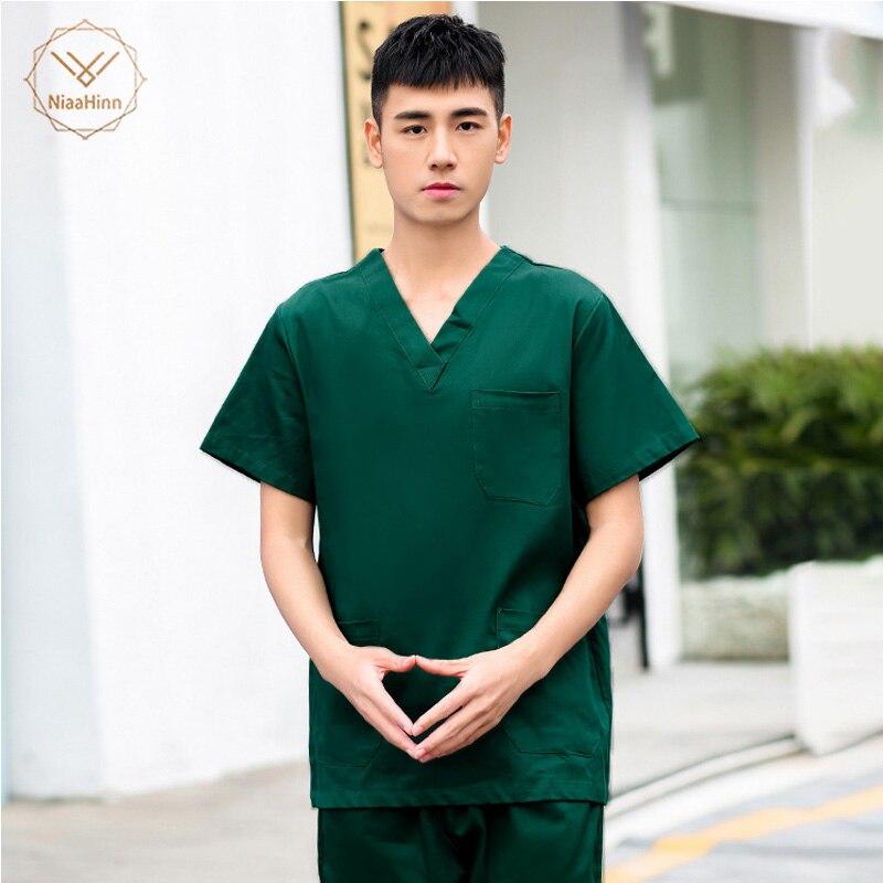 Fashion New Solid Color Men Medical Uniforms Women Nursing Scrubs Work Wear Tops V Neck Summer Short Sleeve Doctor Nurse Uniform