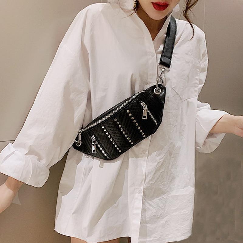 Mododiino Brand Waist Bag PU Leather Belly Bag Rivet Chest Bags Zipper Fanny Pack Fashion Waist Pack Women Banana Bag DNV0982