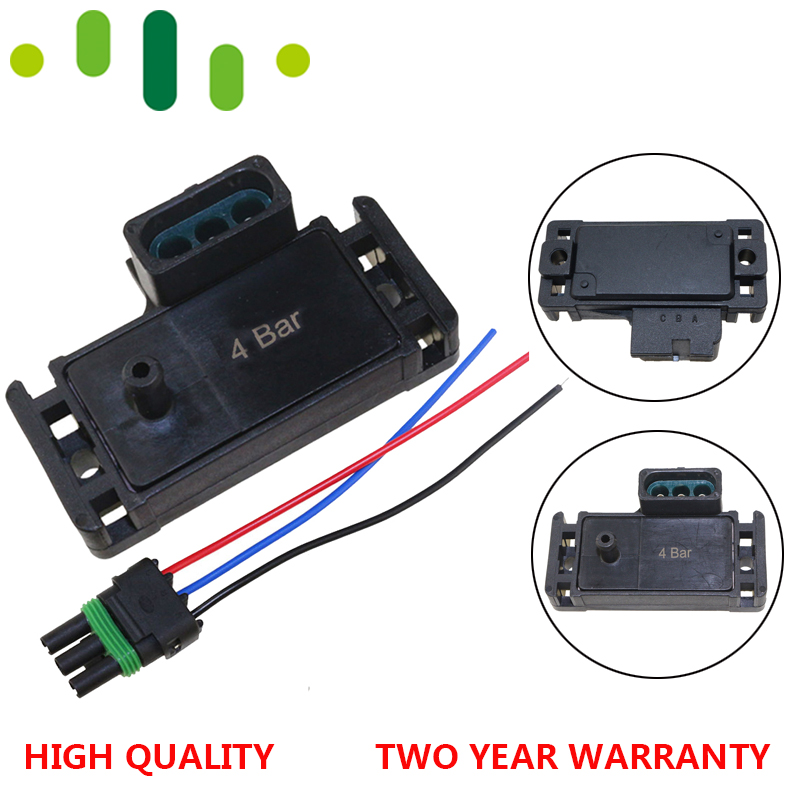 100% Test 4Bar 4 Bar 58 Psi 58psi Turbo Boost Pressure MAP Sensor For GM DELPHI Electromotive Motec With Plug Wire Pigtail