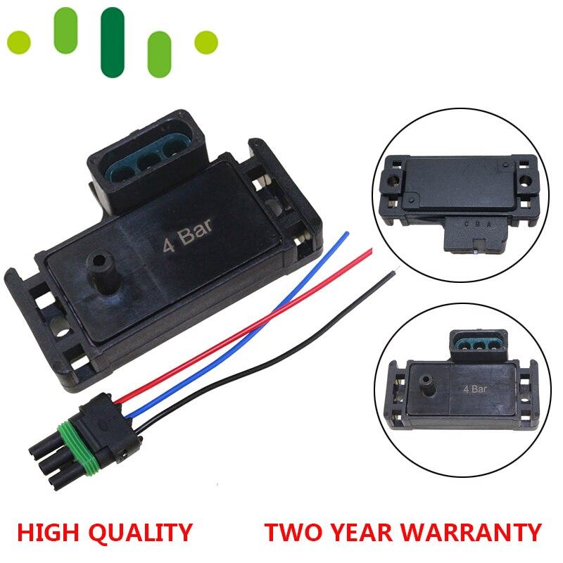 100% teste 4bar 4 barra 58psi 58psi turbo boost pressão mapa sensor para gm delphi eletromotive motec com fio de plugue trança