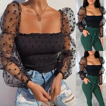 חדש נשים מנוקדת רשת Sheer לראות דרך ארוך שרוול טי פאף שרוול T חולצות