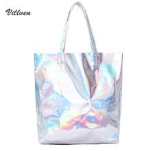 New Women Handbag with Laser Hologram Leather Shoulder Bag for Large Capacity Individual Shopping Bags Casual Silver