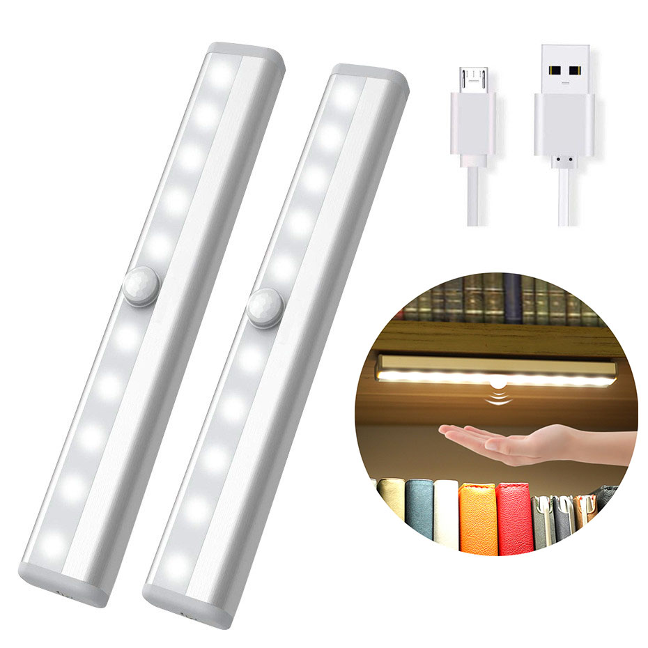 USB Rechargeable 10LED PIR Motion Sensor Led Night Light AAA Battery Powered Cabinet Kitchen Wardrobe Closet Light Night Lamp