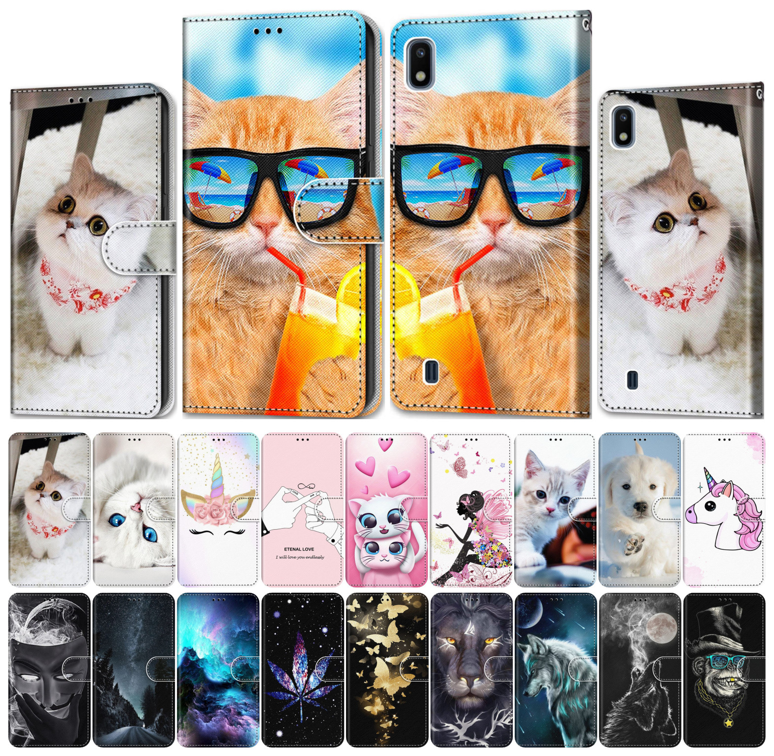 For Case Samsung Galaxy A50 A500 A510 A520 A5 2015 2016 2017 Phone Wallet Leather Cover Phone Case Tiger Wolf Lion Cat Dog V08F