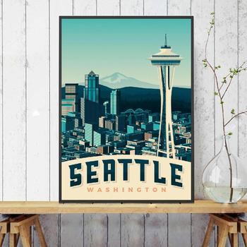 Seattle Travel Art Canvas Poster Print Home Decor Painting No Frame image