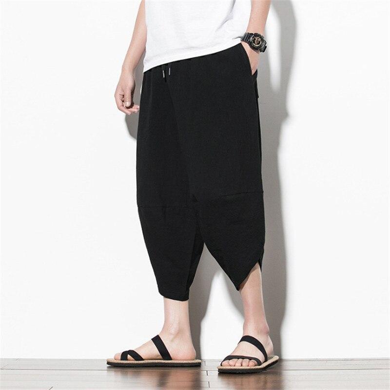 2020 New Fashion Sarouel Pants Men's Casual Pockets Cotton Linen Fashion 3/4 Length Hip Hop Style Unisex
