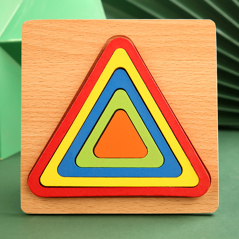 High Quality Colorful 3D Wooden Geometric Shapes Cognition Puzzles Board Math Game Montessori Learning Educational For Kids Toys 13