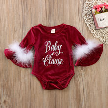 Newborn Baby Rompers Christmas Baby Girl Clothes Outfits Princess Plush Clothes Babies Xmas Jumpsuits Infant Bebe Long Sleeves(China)