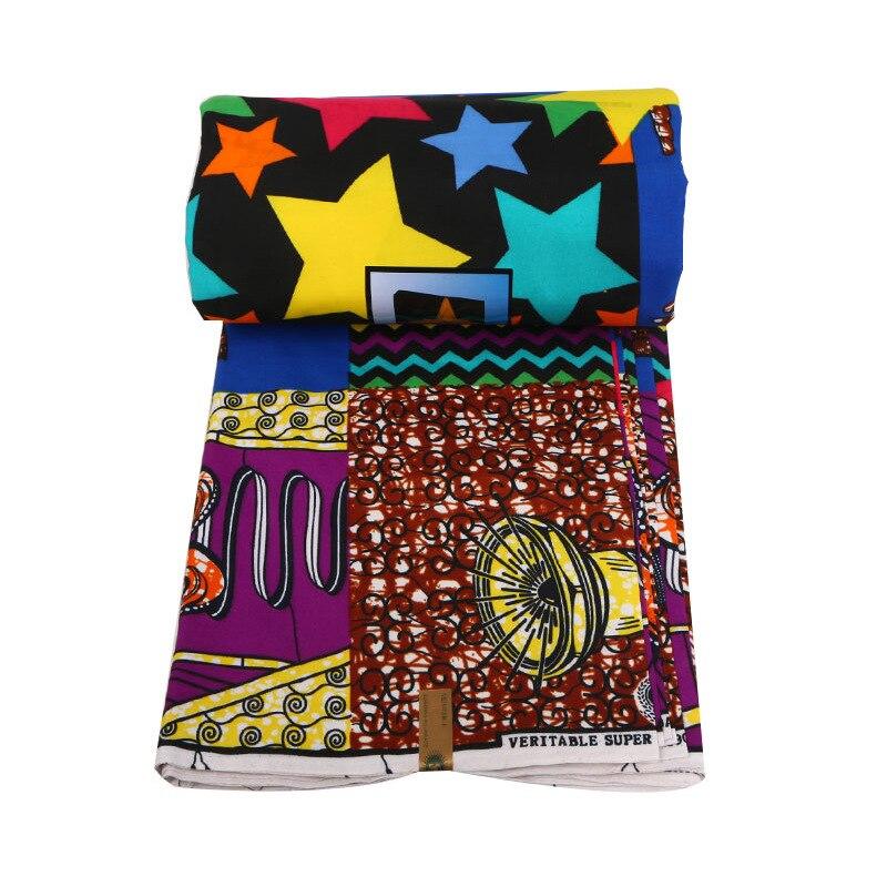New Wax Fabric Fashion Design Colorful Stars Print African Ankara Verutable Guaranteed Dutch Wax Printed Fabric