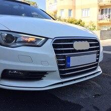 Rivestimento decorativo della copertura della griglia della griglia centrale dellautomobile dellacciaio inossidabile per Audi A3 8V berlina 2013 2016 strisce della decalcomania della griglia della lampada della nebbia anteriore