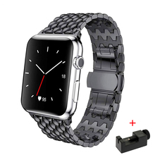 Strap For Apple watch band 44mm 40mm series 5 4 3 2 replacement watchband iwatch 42mm 38mm luxury stainless steel link bracelet ceramic watchband tool for 38mm 42mm iwatch apple watch series 1 2 replacement band steel butterfly buckle strap wrist bracelet