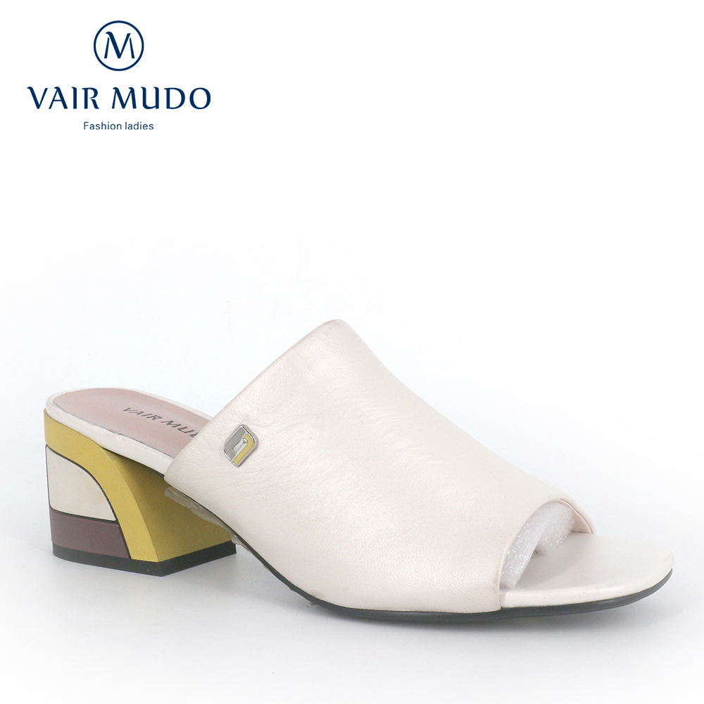 VAIR MUDO  Slippers 2020 Fashion Leather Wear Low Heel Outdoor Sandals Summer New Shoes Wild Open Toe Slippers Ladies Shoes LT4