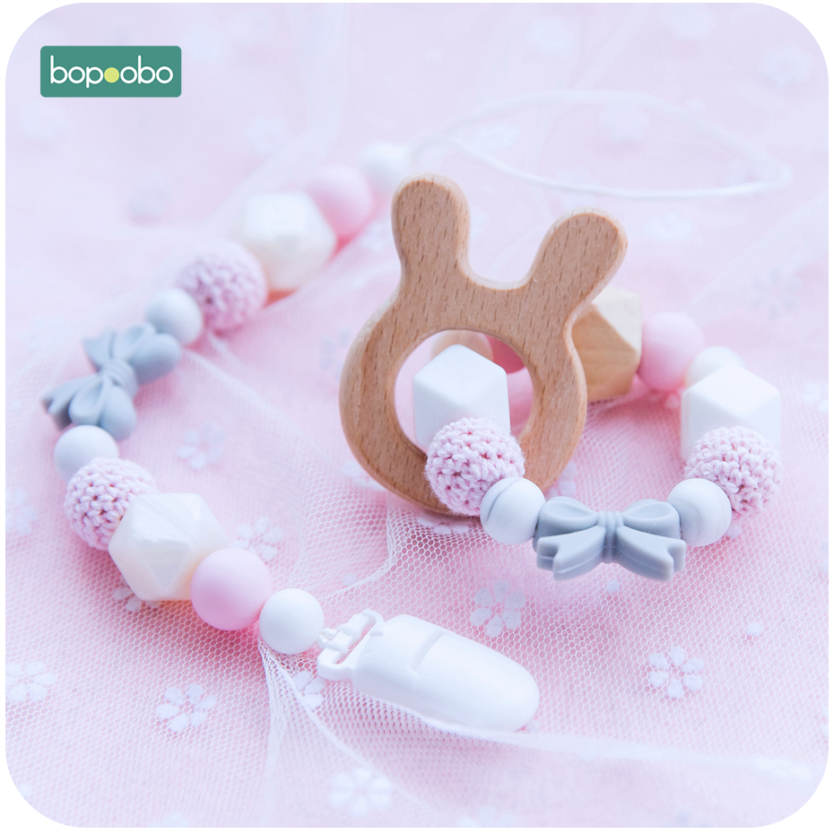 Bopoobo 1pc Baby Rattle Pacifier Clip Food Grade Silicone Beads For Chewable Training Bracelet Baby Silicone Pacifier Chain Set