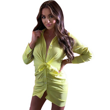 Fashion Sexy Women Dress Casual Sheath Solid Color Button Long Sleeve Mini Office Lady Elegant Clothes