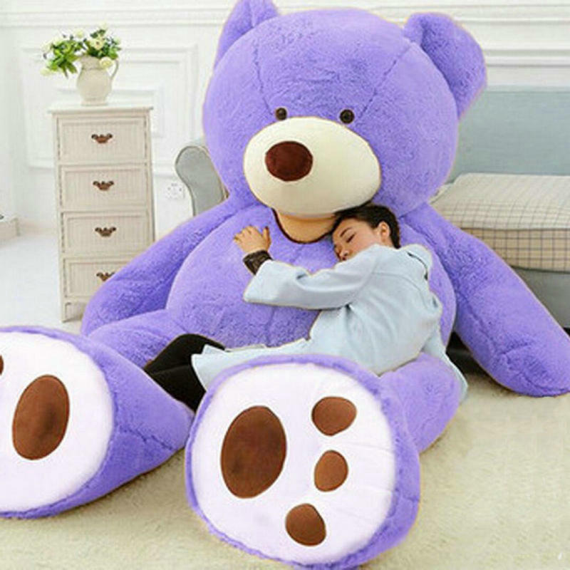 78 Inch Giant Purple Teddy Bear Coat Plush Cover Large Non-stuffed Animal Toy 200 Cm Kid Gfit Cute Plush