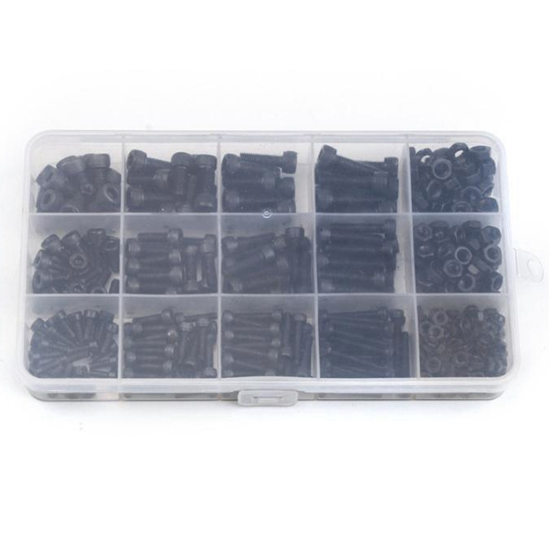 Black Carbon-Steel Cylinder Column Hex Hexagon Screw Set 500Pcs/Set M3/M4/M5 Furniture Fastener Assorted Kit Hex Head Bolt Nuts