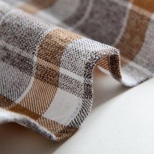Image 5 - Erkek % 100% pamuk fırçalanmış flanel ekose damalı gömlek Casual uzun kollu standart fit düğme aşağı yakalı şemsiye Tops gömlek