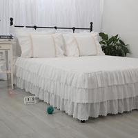 Korean princess 3 cake layers white 100% pure cotton embroidered bed skirt покрывало 40/45cm height bed apron free shipping YYX