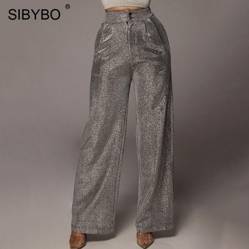 SIBYBO Sparkly High Waist Casual Pants Women Fashion Wide Leg Loose Women Trousers Black Streetwear Winter Ladies Pants