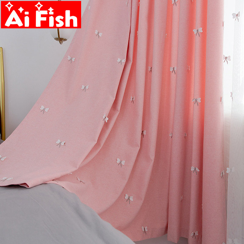 Pink Embroidery Butterfly Floating Tulle For The Bedroom Luxury Pink Insulation Blackout Panel Curtains For Living Room MY070-40