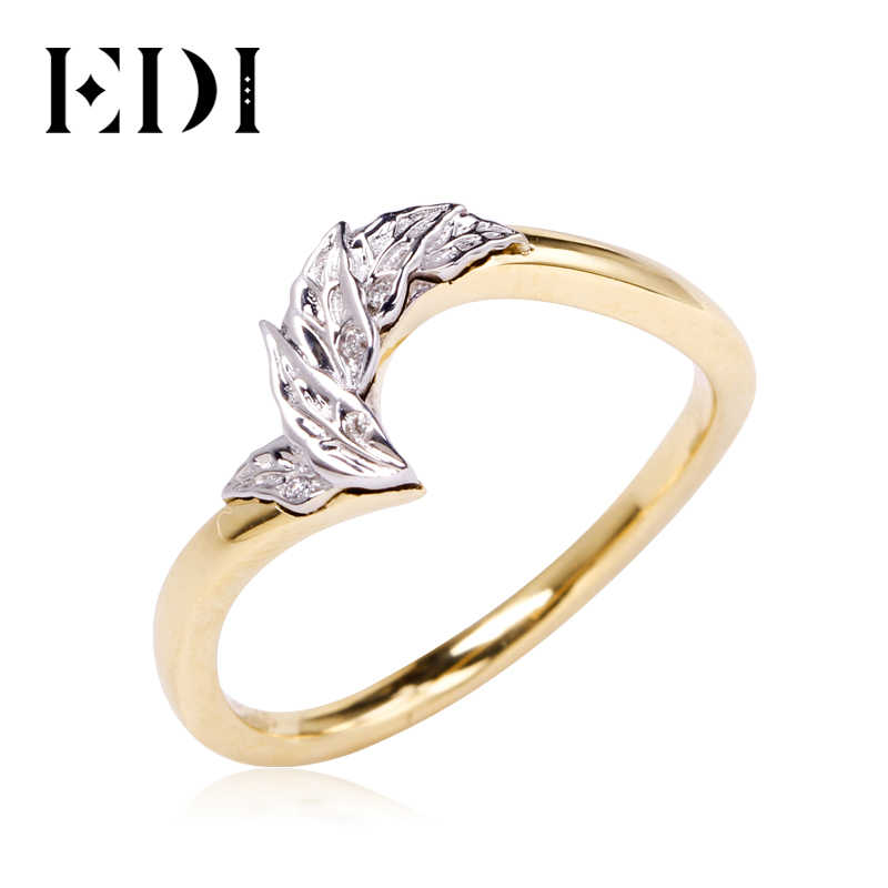 Edi Beauty And The Beast Rose Design Diamond Wedding Band 14k White Yellow Two Tone Gold Natural Diamond Leaf Band Ring Rings Aliexpress