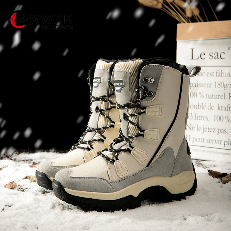 WWKK 2019 Winter Outdoor Non-slip Warm Waterproof Snow Boots Women Mid-Calf Thicken Sole Boot Hike Ski Sports Shoes Woman