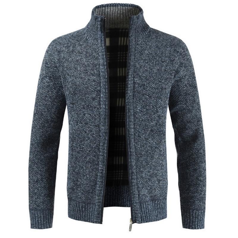 Men's Autumn Thicken New Fashion Business Casual Sweater Cardigan Men's Slim Sweater Jacket Warm Winter Cardigan Sweater