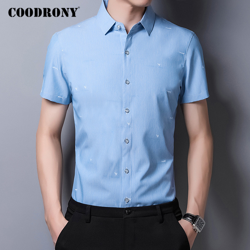 COODRONY Business Casual Shirts Mens Korean Clothes Slim Fit Shirt Men Spring Summer Short Sleeve Camisa Social Masculina C6031S