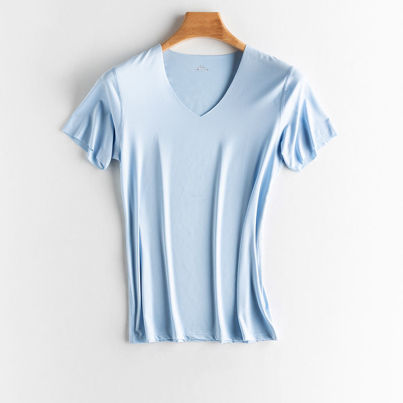 Summer Short Sleeve Tops T Shirt for Men 6 Colors Slim Fit Cotton V Neck T Shirts for Men Big Size To 5XL Men's Fitness Tees