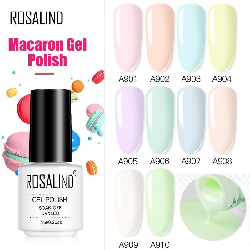 Гель-лак для ногтей ROSALIND Macaron, удаляемый замачиванием, гибридные Лаки, УФ-гель для дизайна ногтей, Полупостоянный топ и Базовый лак для маник...