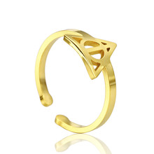 Adjustable Ring For women Accesories fashion stainless steel jewelry Opening Death Inspired Charm Triangle Harry Petter