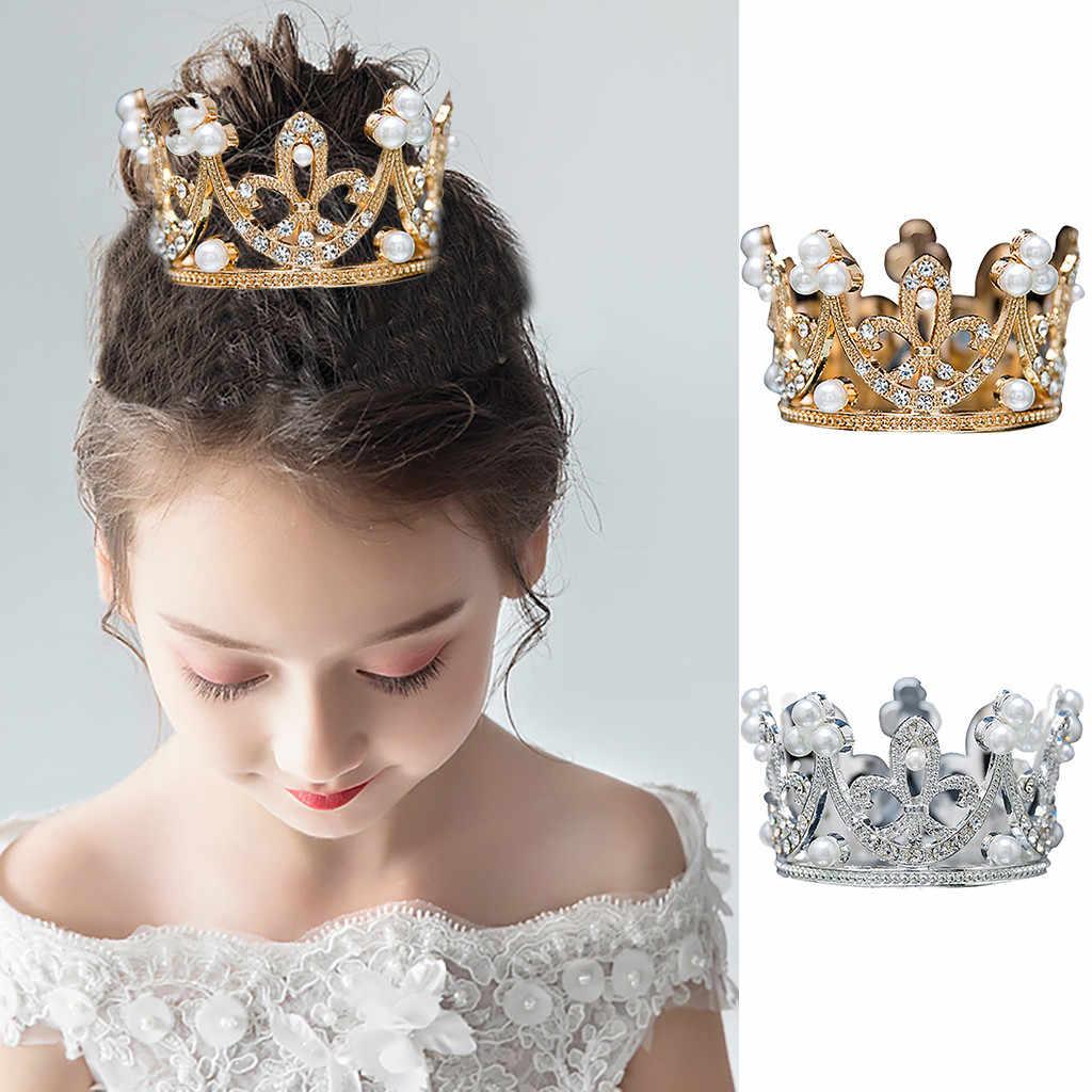2019 子供王冠ティアラ女王王王冠ウェディング頭飾り少年少女ティアラについてクラウンズ誕生日ケーキ髪の宝石