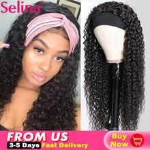 Onda de água bandana peruca sintética para mulheres cachecol sem cola velcro design fibra resistente ao calor cosplay diário lolita peruca encaracolado