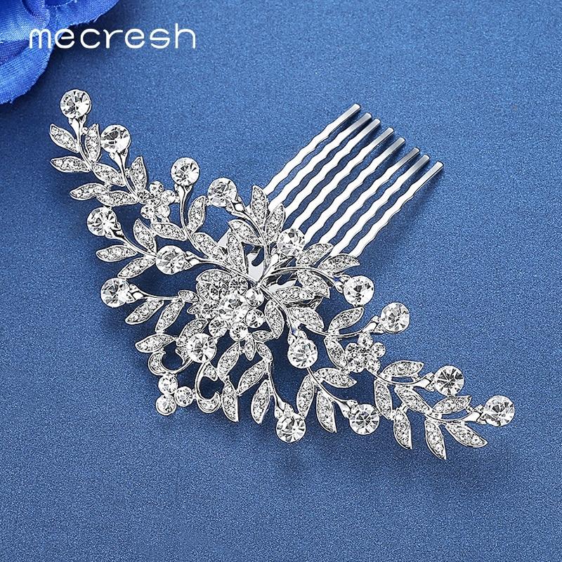 Mecresh Silver Color Rhinestone Flower Leaf Bridal Hair Comb for Girls Crystal Hair Ornaments Jewelry Wedding Hair Accessories 4