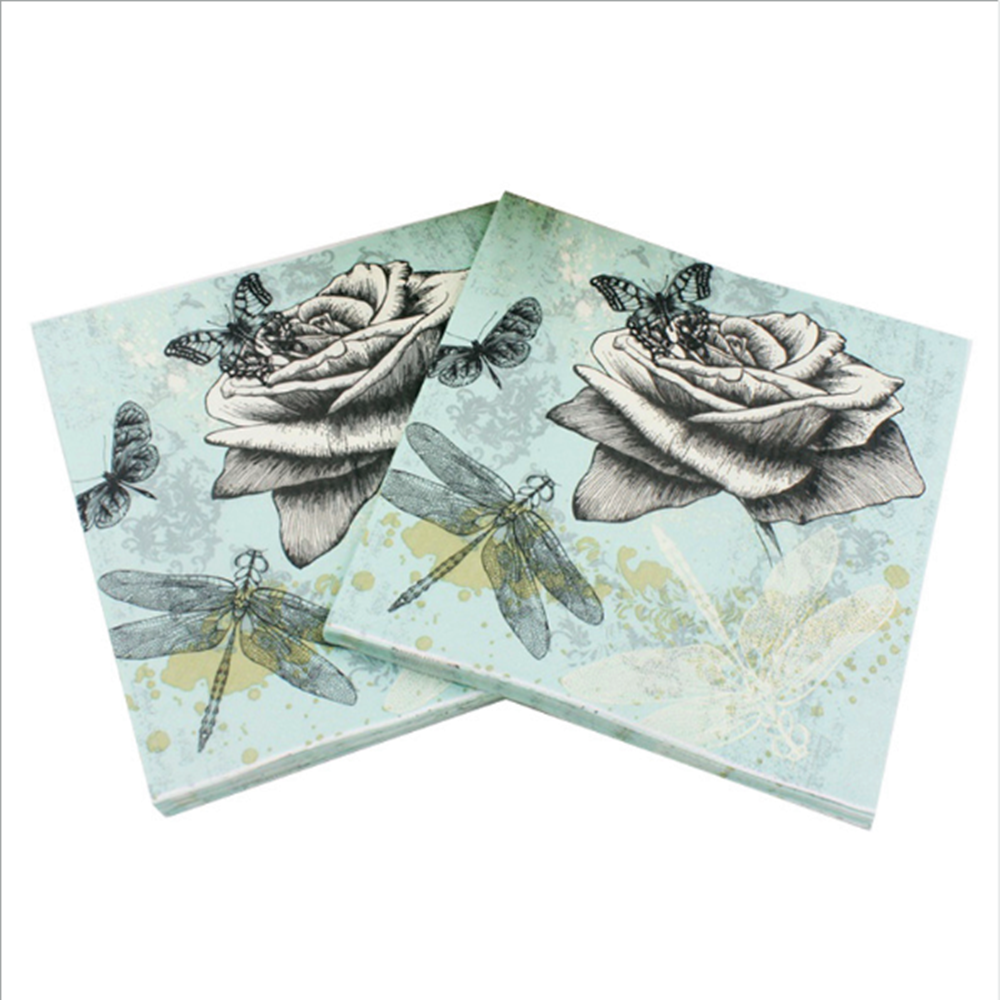 20ps / Bag Advanced Dragonfly Paper Towel Napkin Tissue Party Supply Home Decoration Wholesale Paper Napkin & Serviette 2 Ply