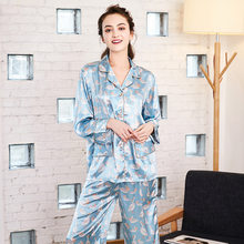 Faux Silk Women's Pajamas Sexy Long Sleeve Trousers Suit nightdress Sleepwear Nightgowns Nightwear Home Dress Dressing Gown(China)