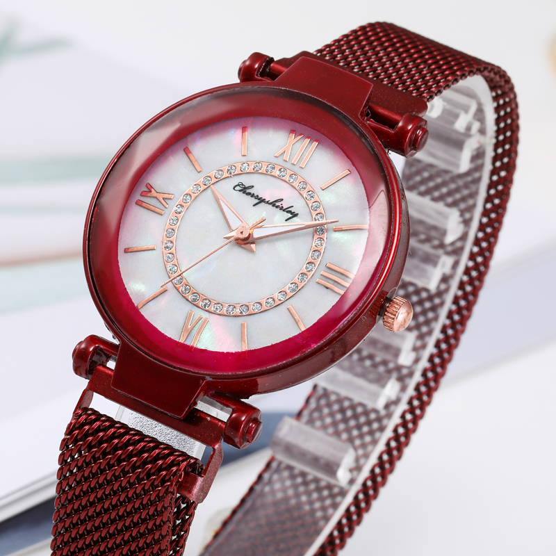 2020 Hot Sale Women's Watches Luxury Magnetic Wristwatch Geometric Surface Female Stainless Steel Diamond Quartz Watches Reloj