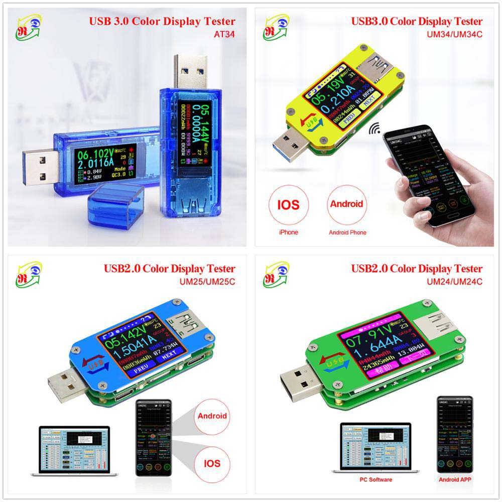 AT34 UM34/UM34C UM24/UM24C UM25/UM25C Color LCD Display USB Voltage Tester Current Meter Voltmeter USB tester|Voltage Meters| - AliExpress